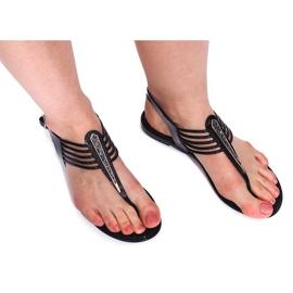 Czarne Sandały Meliski Z Cyrkoniami 001-356 Czarny