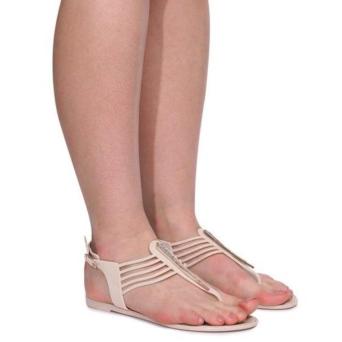 Sandały Meliski Z Cyrkoniami 001-356 Beżowy brązowe