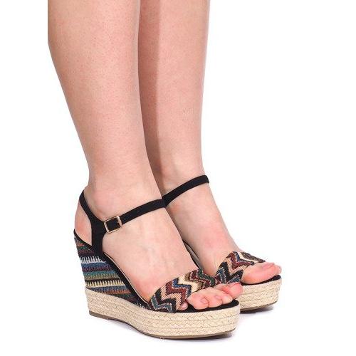 Sandały Na Koturnie 100-540 Czarny czarne