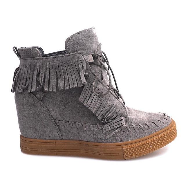 Sneakersy Na Koturnie Z Frędzlami Boho F3 Szare