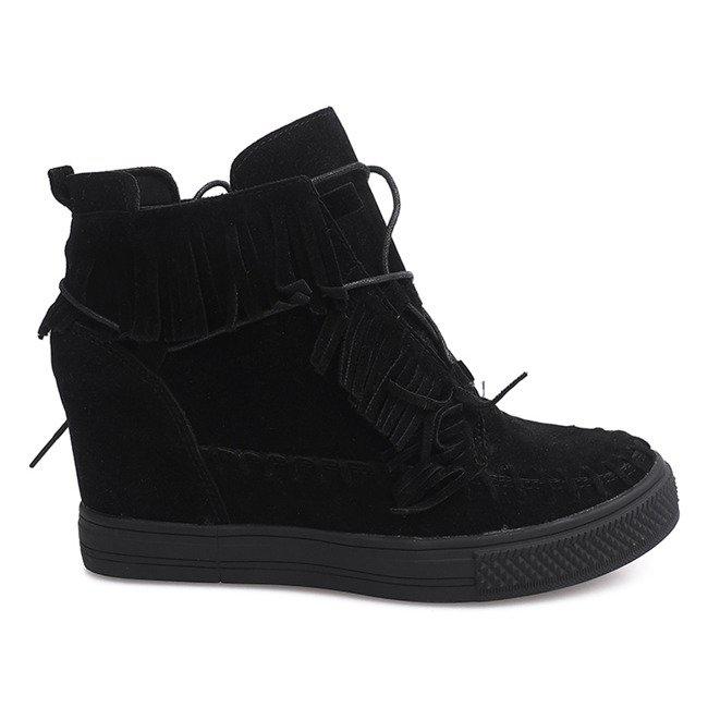 Sneakersy Na Koturnie Z Frędzlami Boho F3 Czarny czarne