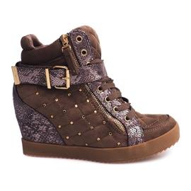 Sneakersy Na Koturnie 6227-Y Khaki wielokolorowe zielone