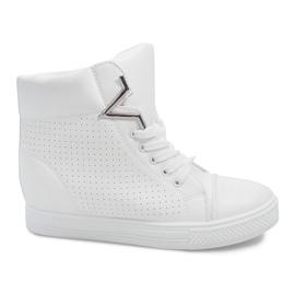 Sneakersy Na Koturnie 29332-2 Biały białe