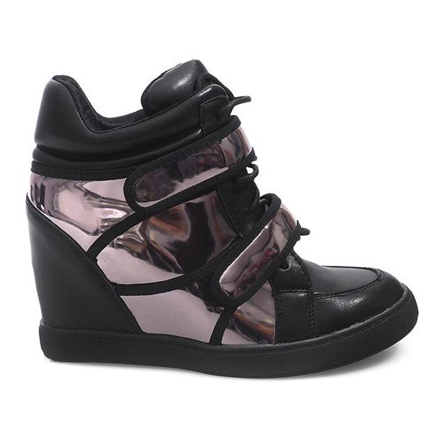 Sneakersy Na Koturnie R5060-4 Czarny czarne