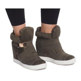 Sneakersy Na Koturnie 6671-Y Zielony zielone