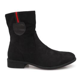 Zamszowe Botki Sztyblety PT9853 Czarny czarne