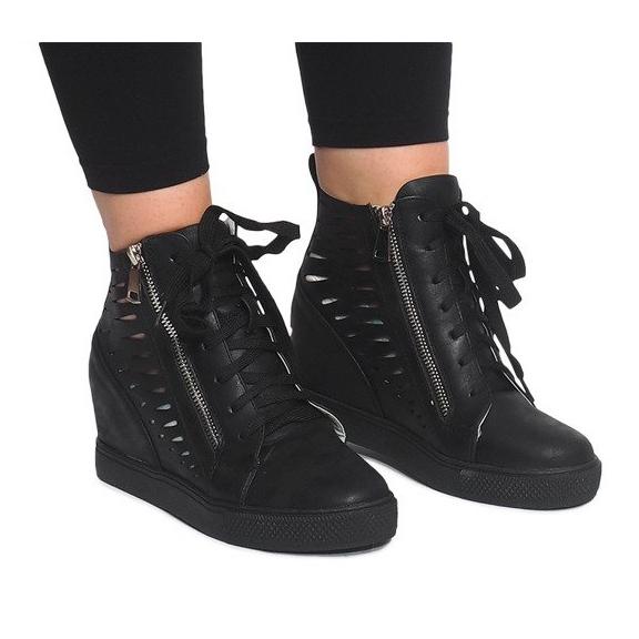 Ażurowe Sneakersy Na Koturnie HQ881 Czarny czarne