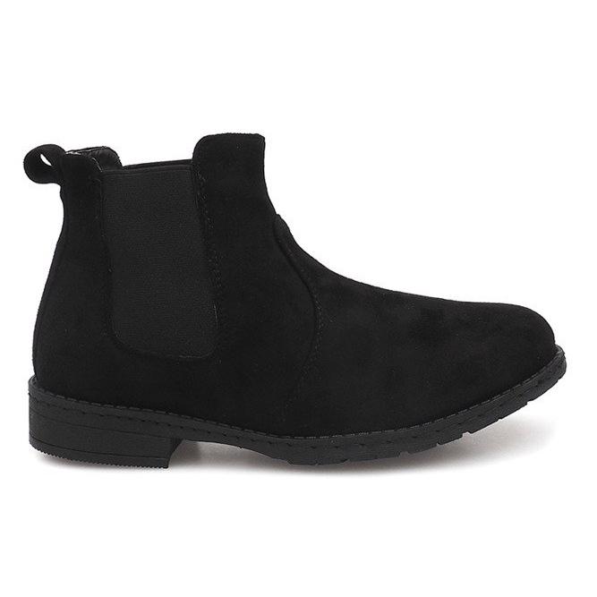 Zamszowe Botki Sztyblety 7-K3520A Czarny czarne