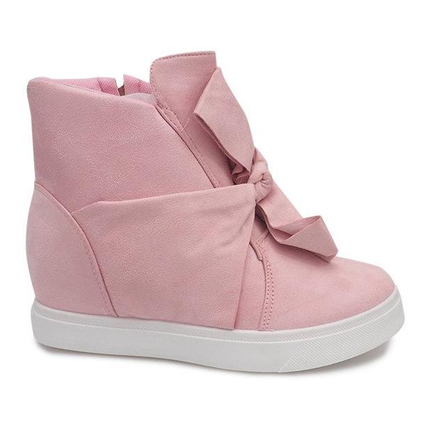 Sneakersy Na Koturnie 1787 Różowy różowe