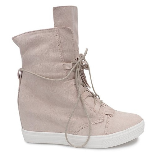 Sneakersy Na Koturnie A30 Beżowy