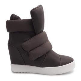 Ocieplane Sneakersy Na Koturnie 01-3 Khaki zielone