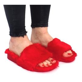 Klapki Z Futerkiem 833 Czerwony czerwone