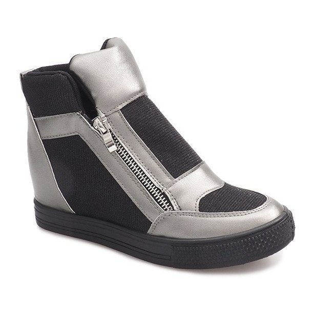 Sneakersy Na Koturnie TL020-3 czarne szare