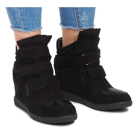 Sneakersy Na Koturnie BZ8386 Czarny czarne