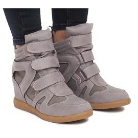 Sneakersy Na Koturnie BZ8386 Szary szare