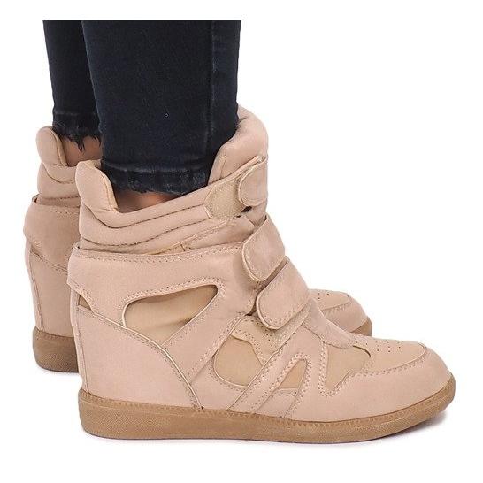 Sneakersy Na Koturnie BZ8386 Khaki wielokolorowe zielone