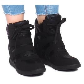 Sneakersy Na Koturnie 1628 Czarny czarne