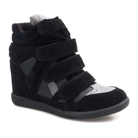 Sneakersy Na Koturnie R9686 Czarny czarne