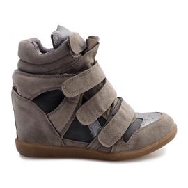 Sneakersy Na Koturnie R9686 Szary szare