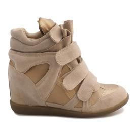 Sneakersy Na Koturnie R9686 Beżowy brązowe