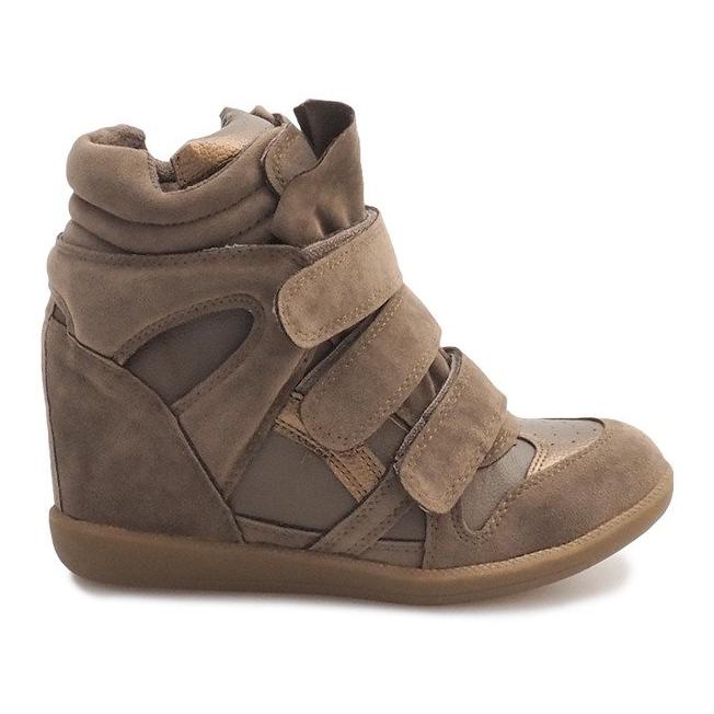 Sneakersy Na Koturnie R9686 Khaki wielokolorowe zielone