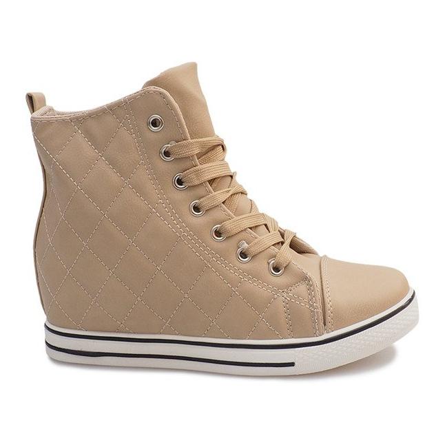 Pikowane Sneakersy Z043 Beżowy