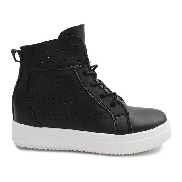 Ażurowe Sneakersy Na Koturnie NB53P Czarny czarne
