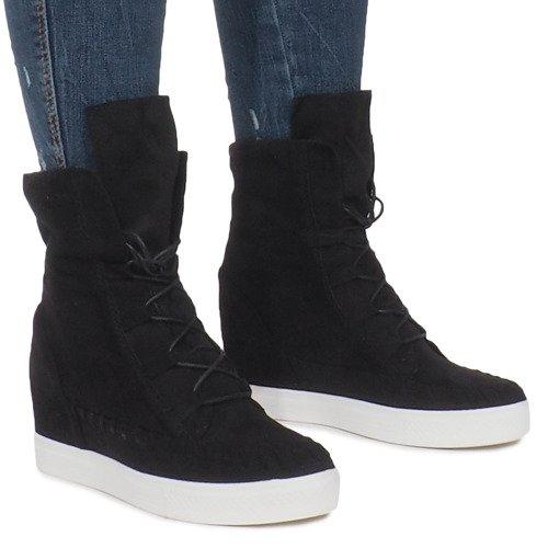 Czarne Zamszowe Sneakersy Na Koturnie Indian