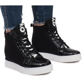 Czarne Materiałowe Sneakersy Na Koturnie Love