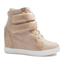 Beżowe zamszowe sneakersy na rzepy Amelia beżowy