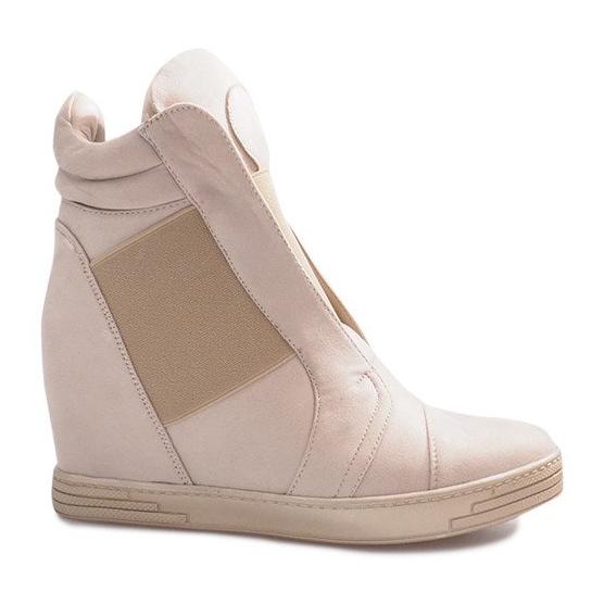 Beżowe sneakersy na koturnie Hannah beżowy