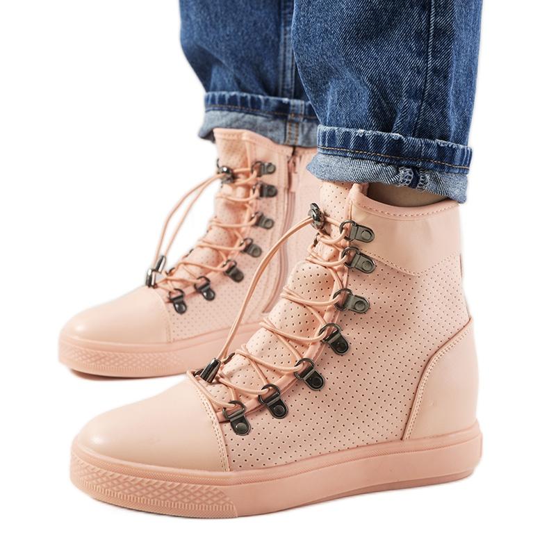 Różowe ażurowe sneakersy na koturnie Mathilde