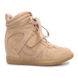 Beżowe sneakersy na koturnie Nadine brązowe