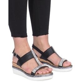 Czarne sandały na koturnie Sixth Sens