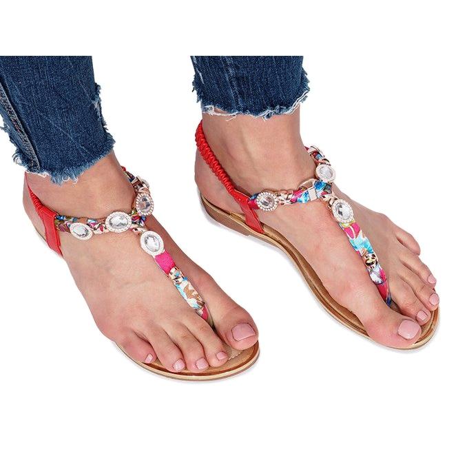 Czerwone płaskie sandały z diamentami Desun