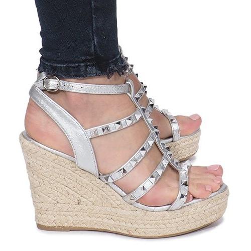 Srebrne sandały na koturnie espadryle Mood szare