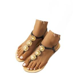 Czarne płaskie sandały z perłami Okra