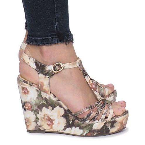 Beżowe sandały na koturnie espadryle Beige Flowers brązowe