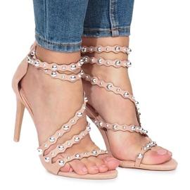 Różowe szpilki sandałki Montana