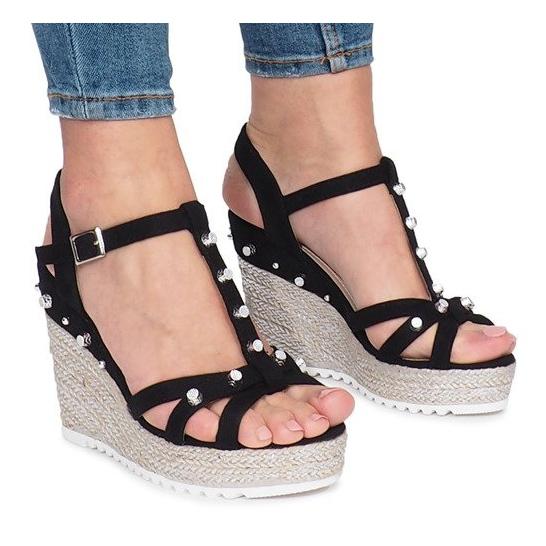 Czarne sandały na koturnie espadryle Chillin