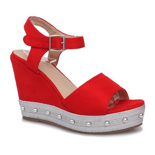 Czerwone sandały na koturnie Travel