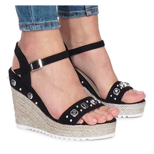 Czarne sandały na koturnie Glam Shine