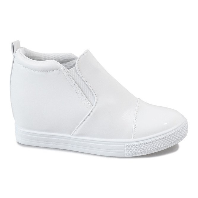 Białe sneakersy na koturnie DD409-2