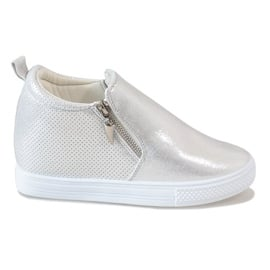 Szare Srebrne ażurowe sneakersy na koturnie DD383-2