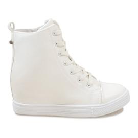 Białe sneakersy na koturnie DD476-2