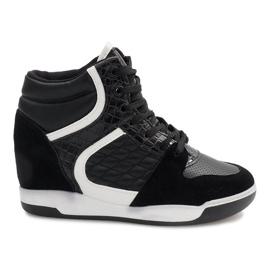 Czarne sneakersy na koturnie K-26