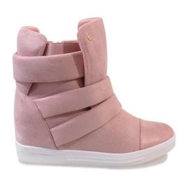Różowe sneakersy na koturnie H6508-11