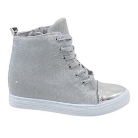 Srebrne sneakersy na koturnie DD385-2 szare