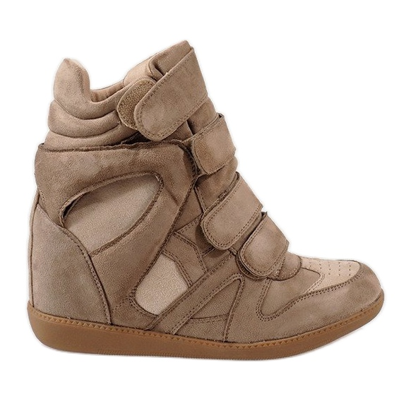 Camel sneakersy na koturnie H6601-32 brązowe