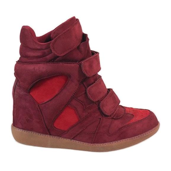 Bordowe sneakersy na koturnie H6601-45 czerwone